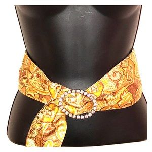 Fabric Patterned Belt with Bling Buckle